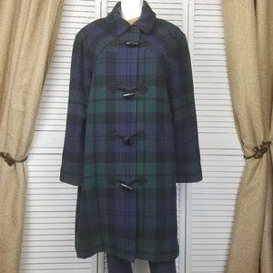 Talbots wool plaid toggle peacoat coat Sz 16